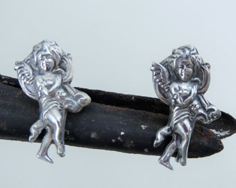 Antique Sterling Silver Cupid Angel Putti Earrings