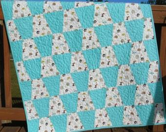 Baby Quilt Aqua Checkerboard Tumbler Jungle Animals Baby Boy Gender Neutral