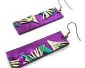 80s Abstract Metallic Earrings / Vintage 1980s Handmade Purple Dangle Earrings / OOAK / Avant Garde Modernist Memphis Rocker Earrings