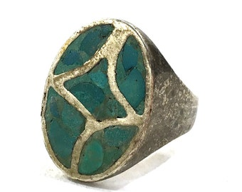 70s Turquoise & Sterling Silver Ring / Vintage 1970s Native American Jewelry / Navajo Zuni Sand Cast Inlay Cigar Band / Mens Womens Size