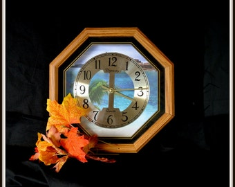 Octagon Clock, Upcycled Vintage Octagon Clock, Refurbished Vintage Octagon Clock, Christmas Gift, Gift For Him, Gift For Her