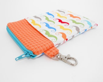 Mustache Gadget or Phone Case with Lobster Claw Clasp Clip On Zipper Pouch