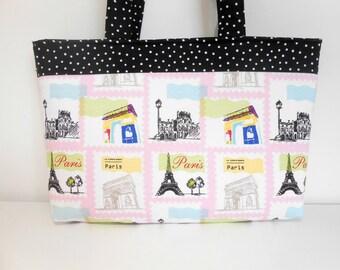 Paris Purse, Paris Tote Bag, Zipper Purse with Shoulder Handles