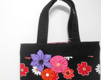 Black Book Bag with Kanzashi and Yo Yo Flowers, Floral Magazine Tote Bag