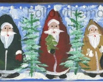 Five Folk Art Santa Clauses  Wood original Christmas Painting Snowing Season Holiday Fun
