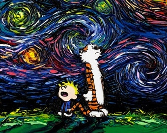 Calvin and Hobbes Art - Starry Night print What If van Gogh Had An Imaginary Friend by Aja 9x12 10x13 11x14 18x24 24x30 inches choose size