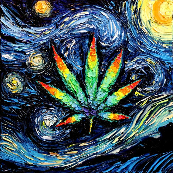 marijuana leaf art psychedelic pot leaf starry night print