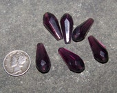 Vintage CZECHOSLOVAKIA Hand Cut Glass Drops Prisms GABLONZ BOHEMIA Purple 6 Pcs