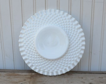 Milk Glass Hobnail  Plate -Royal Hill Vintage