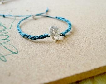 Rhinestone Skull Bracelet, Day of the Dead Jewelry, Dia de los Muertos, Skull Bracelet, Boho Stackable Bracelet, Macrame Bracelet,