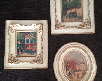 Vintage Mid Century Prints French Market Street Scene Instant Collection Wondura Plastic Frames Wall Art Maurice Utrillo Set of 3
