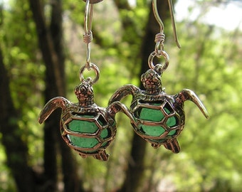 Sterling Silver Sea Turtle Earrings With Aventurine