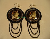 Native American Style rosette beaded Wolf earrings in Black