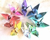 10 Rainbow Peace Crane Birds Wedding Cake Topper Graduation Party Favor Origami Christmas Ornament Paper Table Decoration Good Deal Set