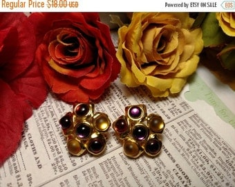 SALE TODAY Vintage Multicolor Signed Monet Designer Gold Clip Earrings Red Purple Yellow Jewels Costume