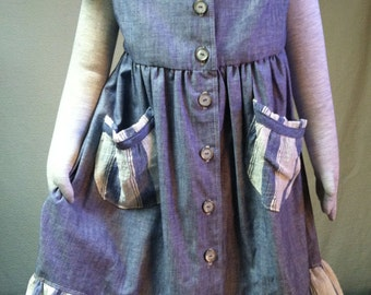 Girls' blue ruffled chambray dress Size 4