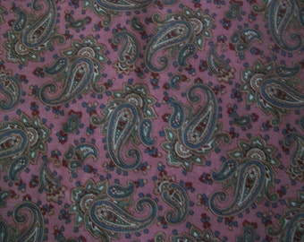 Pink Paisley Cotton Fabric 7/8 Yard Plus Bonus Remnant