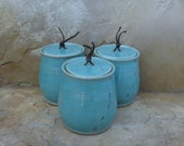 RESERVED - Canister Storage Container Set of 3 - Handmade Stoneware Pottery Ceramic - Blue Celadon and White - Ants - 2-3/4 cups