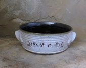 RESERVED - Casserole Baking Dish - Handmade Stoneware Ceramic Pottery - White and Rich Brown - Vines - 2 quart