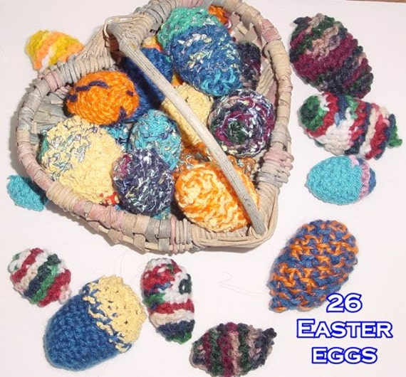 Eggs, Crocheted, Colorful, Easter or Pretend Play, Set of 26 eggs