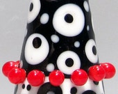Black & White Two-Toned Cone--Handmade Lampwork Glass Bead