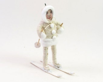 Vintage Inspired Spun Cotton Skier Figure/Ornament