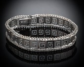 Meander-Greek Key Lace ~ Sterling Silver Link Bracelet