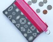 Gray gems double zip wallet. Pink canvas cash wallet, coin pocket. kids, tweens allowance, smart Phone diamond wallet. Ditch the piggy bank