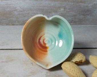 Raindrop Pot, Tiny Heart Shaped Stoneware Bowl, Aqua and Rust, Mint Burnt orange, Fairy Bowl, Pill holderHandmade Stoneware, Ready to Ship