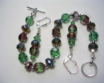 Green and Purple Bracelet Swarovski Crystal Vintage Czech Glass Amethyst and Erinite Toggle Clasp Leverback Hooks Silver