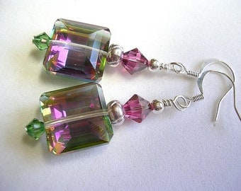 Mirrored Fuchsia and Erinite Glass Crystal Earrings  Green and Pink Swarovski Crystals Wire Wrapped Dangle Earrings