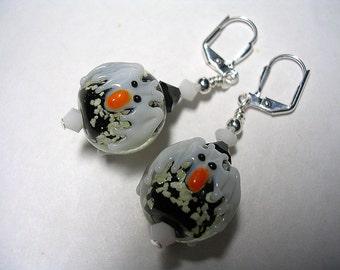 Glow in the Dark Bat Earrings Black and White Lampwork Bat Earrings Leverback Hooks Swarovski Crystal Gifts under 5 Halloween Jewelry