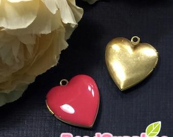 CH-EX-08055CP - Nickel Free, Heart-shaped locket, coral pink, 2pcs