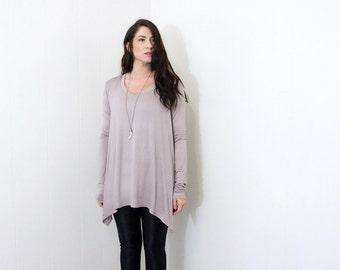 Women's Tunic Shirt • Long Sleeve • Asymmetric Hem • Knot Top • Bohemian Women's Blouses • Raw Hem Tunic Tops • Loft 415 Clothing (No. 747)