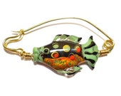 Fibula pin, orange & black fish lampwork glass bead, shawl pin, sweater pin, handmade brass for woven fabrics, artisan jewelry, glassbead
