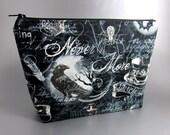 Wicked - Raven - Zippered Pouch - Makeup Bag - Art Supplies - Wicked Fabric - Skull - Bats - Moon - Purse - Zippered Bag - Spider - Web