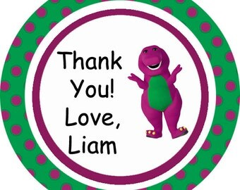 Barney and Friends theme thank you tags, favor tags, gift tags - set of 24