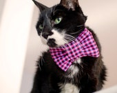 Pink Gingham Check Print Bow Tie For Cats