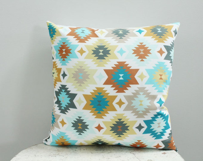 Pillow cover turquoise aztec 18 inch 18x18 modern hipster accessory home decor nursery baby gift present zipper closure canvas ready to ship