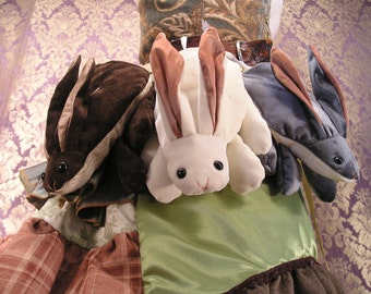 Bunny Pocket, Dark Chocolate, White Velvet, and Silver Velvet Colors
