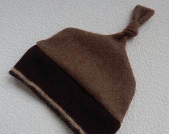 Recycled Brown Cashmere Baby Hat  12-24 months