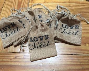 10 burlap wedding or shower gift treat bags