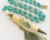 Vintage necklace, statement necklace, Antique Dance Card Pencil