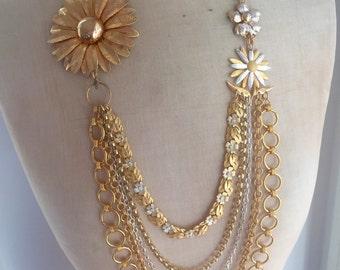 Golden Girl Vintage Statement Necklace, long, bold, gold.