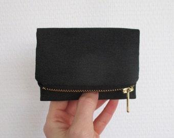 Black Forester card wallet, small dark gray vegan canvas pocket size purse
