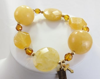 Amber and Golden Yellow Calcite Stone Gold Filled Big City Stretch Bracelet - Chrisitian Jewelry  - Oil Collection