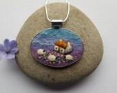 Sheep Pendant Necklace Felt Handmade Jewellery