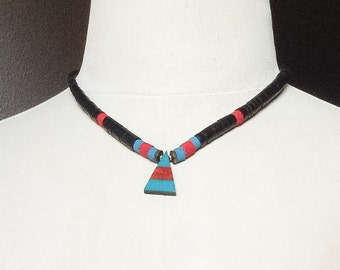 Vintage Black Red Turquoise Necklace