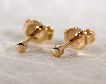 Susan Sarantos Teeny Tiny 18k Studs 2mm Round Minimalist Studs Solid 18k Yellow Gold Stud Earrings