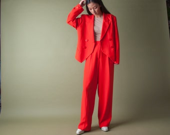 CHRISTIAN DIOR red three piece crepe suit / 80s pantsuit / red skirt suit / m / l / 1047o